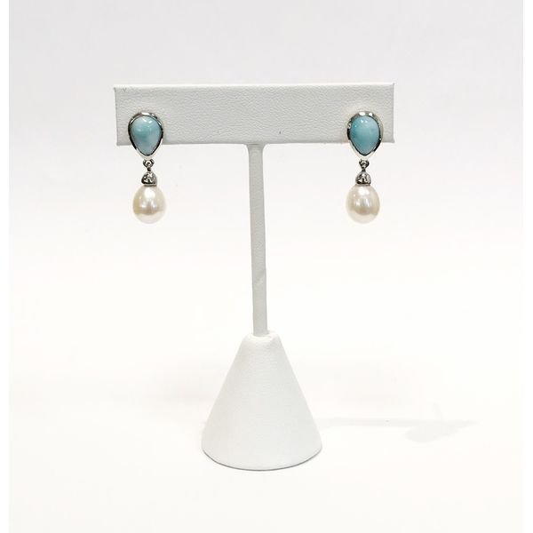 Marahlago Alisa Larimar and Pearl Earrings Image 4 Lumina Gem Wilmington, NC