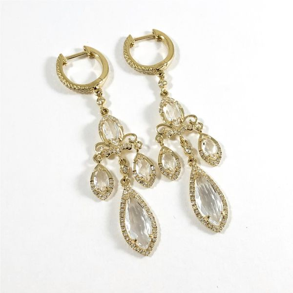 Venetti White Topaz and Diamond Dangle Earrings Image 2 Lumina Gem Wilmington, NC