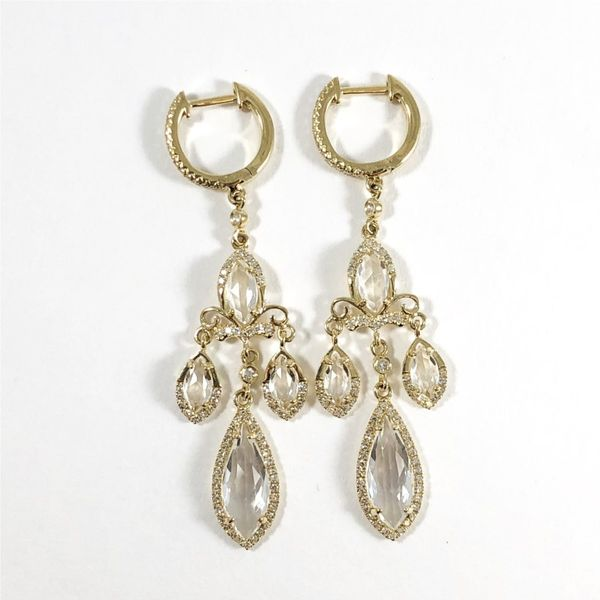 Venetti White Topaz and Diamond Dangle Earrings Lumina Gem Wilmington, NC