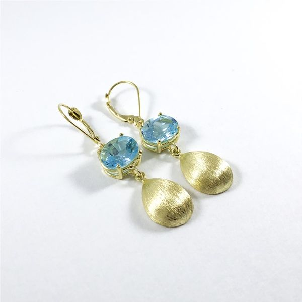 Raymond Mazza Blue Topaz and Textured Gold Dangle Earrings Image 2 Lumina Gem Wilmington, NC