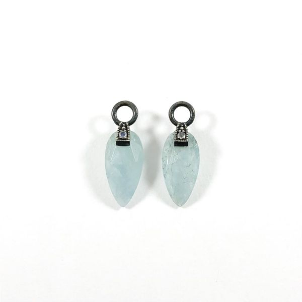 Nina Nguyen Aquamarine and Oxidized Sterling Silver Angel Wing Earring Charms Lumina Gem Wilmington, NC