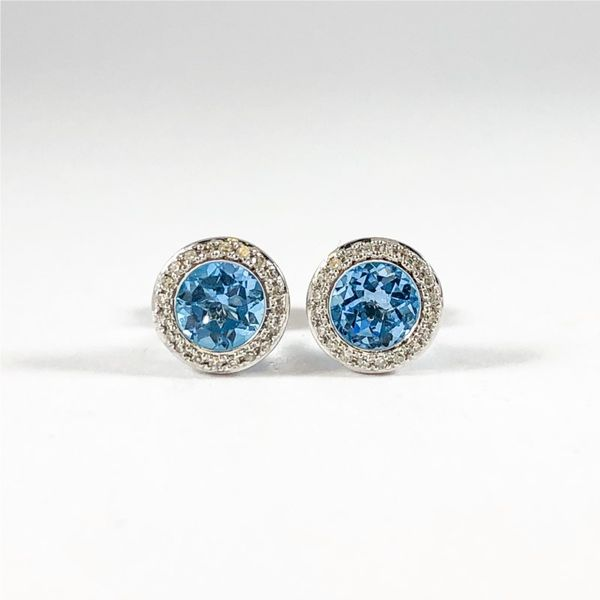 Luvente Blue Topaz and Diamond Studs - 14k White Gold Lumina Gem Wilmington, NC