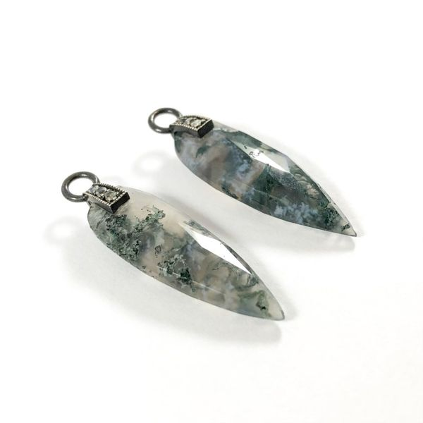 Nina Nguyen Moss Agate and Oxidized Sterling Silver Angel Wing Earring Charms Image 2 Lumina Gem Wilmington, NC