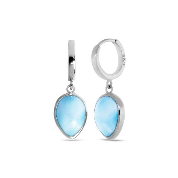 Marahlago Larimar Pear Shaped Dangle Earrings Lumina Gem Wilmington, NC