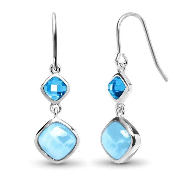 Marahlago Atlantic Cushion Larimar and Blue Spinel Dangle Earrings Lumina Gem Wilmington, NC