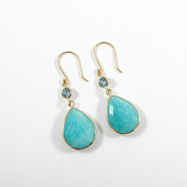 Raymond Mazza Amazonite and Blue Topaz Dangle Earrings Lumina Gem Wilmington, NC