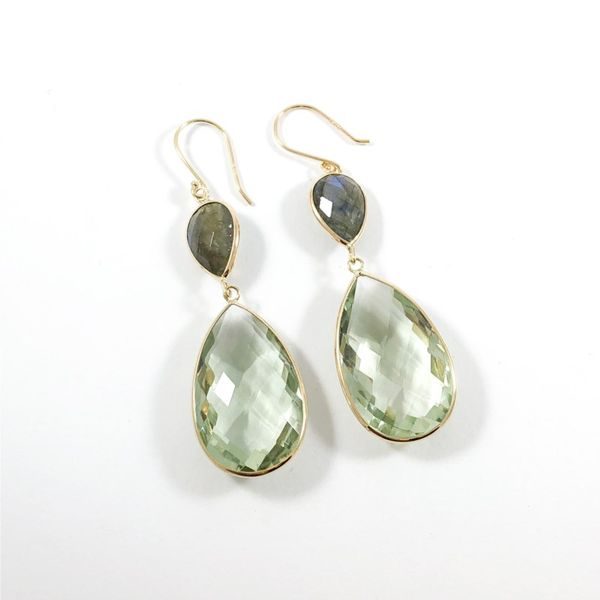 Raymond Mazza Green Amethyst and Labradorite Dangle Earrings Lumina Gem Wilmington, NC