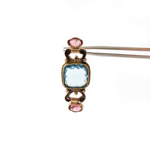 Blue Topaz and Pink Tourmaline Earrings - Yellow Gold Image 2 Lumina Gem Wilmington, NC
