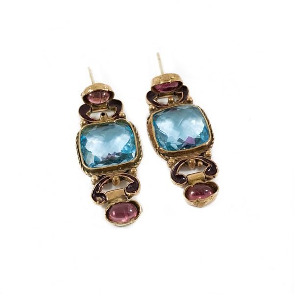 Blue Topaz and Pink Tourmaline Earrings - Yellow Gold Lumina Gem Wilmington, NC