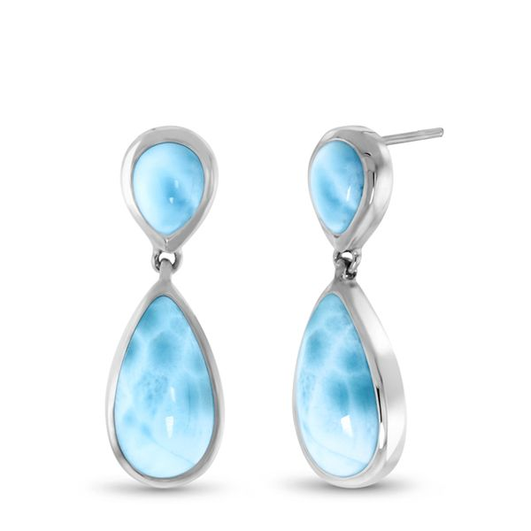 Marahlago Double Pear larimar earrings Lumina Gem Wilmington, NC