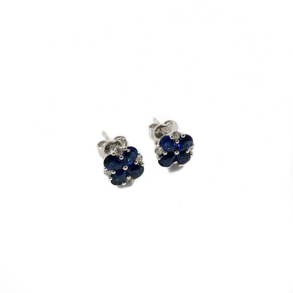 1.51ctw Sapphire and Diamond Earrings - White Gold Image 2 Lumina Gem Wilmington, NC
