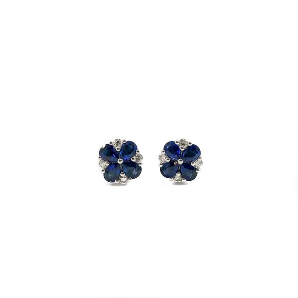 1.51ctw Sapphire and Diamond Earrings - White Gold Lumina Gem Wilmington, NC