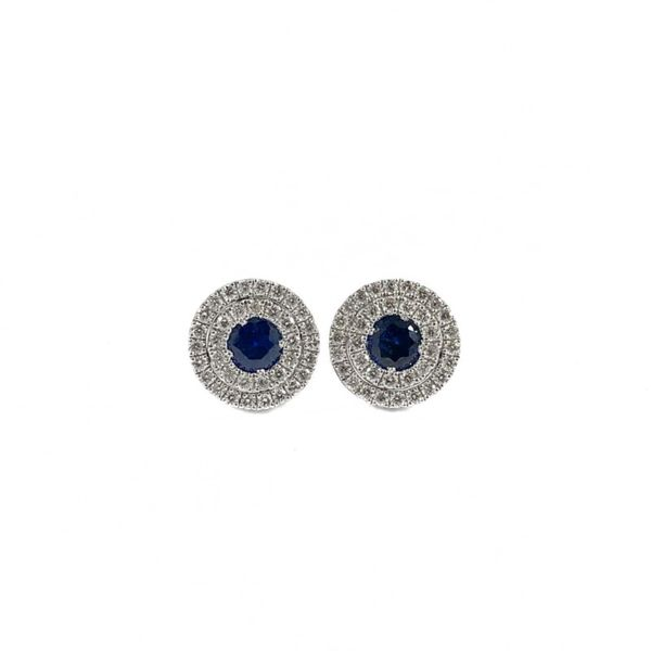 .50ctw Sapphire and .37ctw Diamond Earrings - White Gold Lumina Gem Wilmington, NC