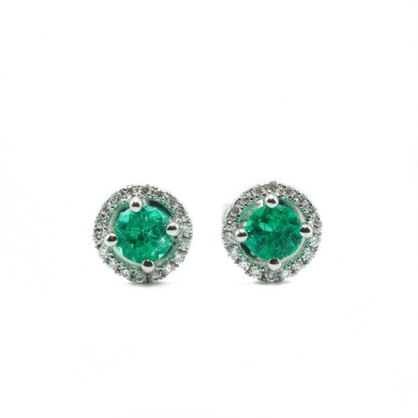 .41ctw Tsavorite Garnet and .06ctw Diamond Earrings - White Gold Lumina Gem Wilmington, NC