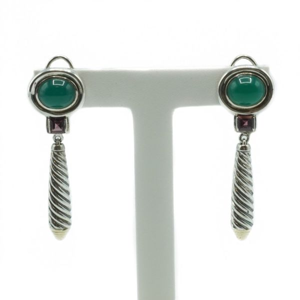 David Yurman Green Onyx and Pink Tourmaline Dangle Earrings - Two Tone Lumina Gem Wilmington, NC