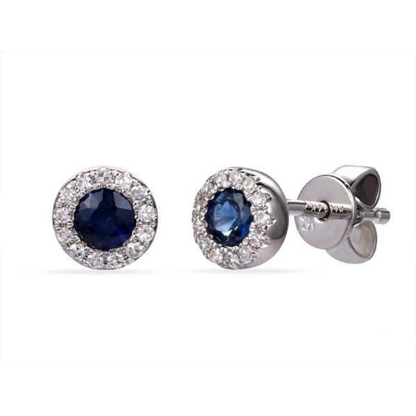 Luvente .32ctw Sapphire and .08ctw Diamond Earrings - White Gold Lumina Gem Wilmington, NC