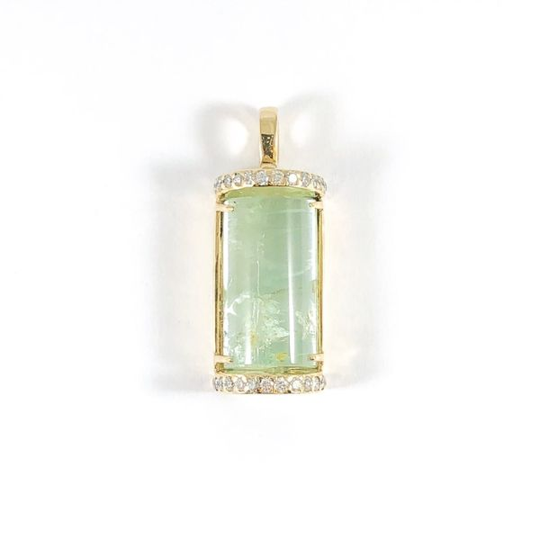 Frank Reubel Aquamarine and Diamond Pendant - Yellow Gold Lumina Gem Wilmington, NC