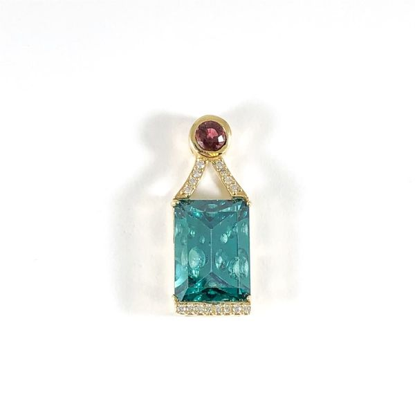 Frank Reubel 15ctw Green/Blue Tourmaline Pendant with .50ctw Pink Tourmaline and Diamond Accents - Yellow Gold Lumina Gem Wilmington, NC