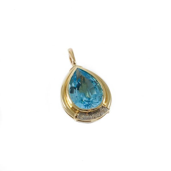 Blue Topaz and Diamond Pendant - Yellow Gold Image 2 Lumina Gem Wilmington, NC