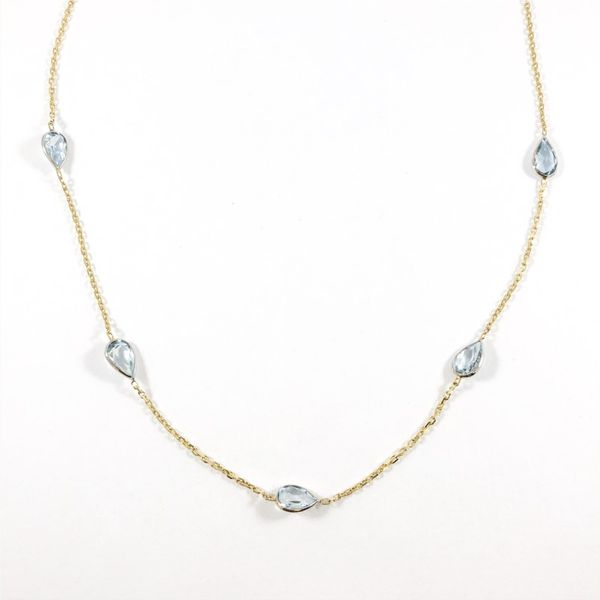 Pear Shaped Aquamarine 9 Station Necklace - 18