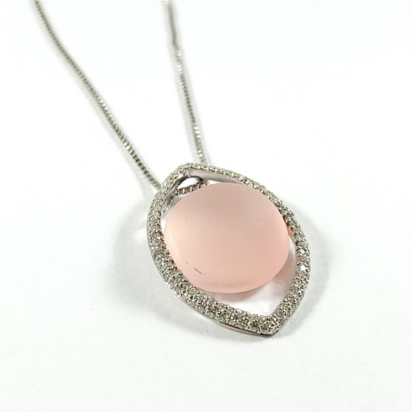 Pink Moonstone and Diamond Necklace - White Gold - 18