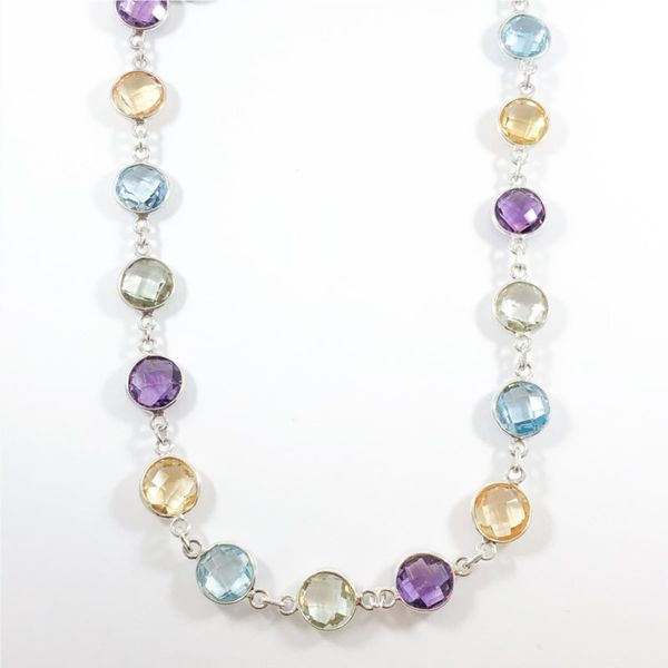 Raymond Mazza Multigem and Sterling Silver 36 Inch Necklace Lumina Gem Wilmington, NC