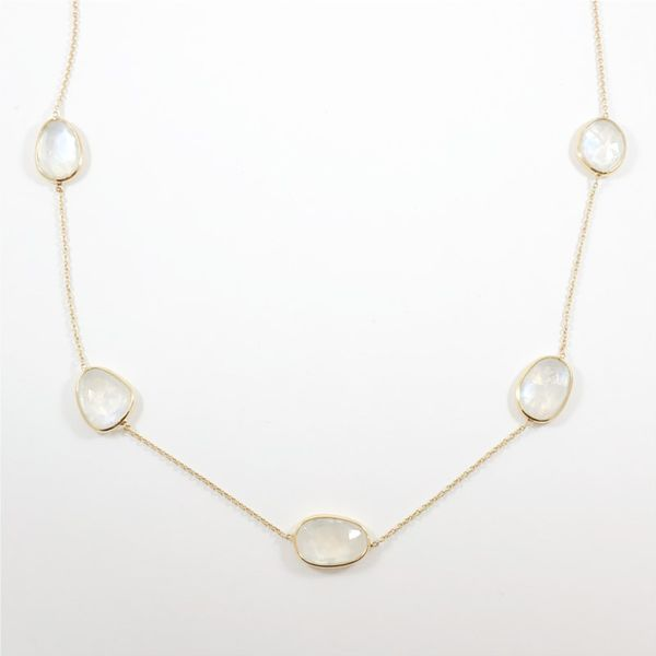 Raymond Mazza Rainbow Moonstone Station Necklace | Yellow Gold Lumina Gem Wilmington, NC