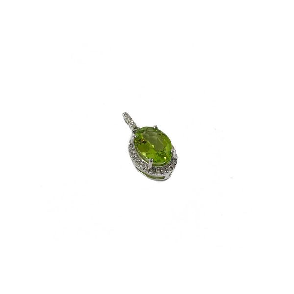 Peridot and .09ctw Diamond Pendant in White Gold Image 2 Lumina Gem Wilmington, NC