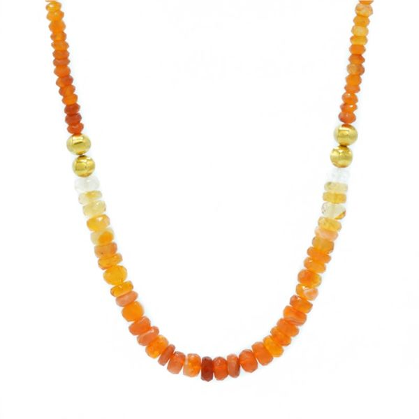 Mexican Opal, Orange, and Yellow Sapphire Beaded Necklace - Yellow Gold - 19