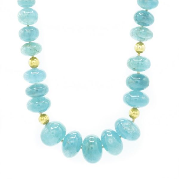 Aquamarine and Gold Plated Necklace - 16