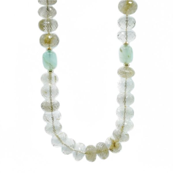 Rutilated Quartz and Chalcedony and Yellow Gold Necklace Made by Local Artist Katharyn Zava - 17