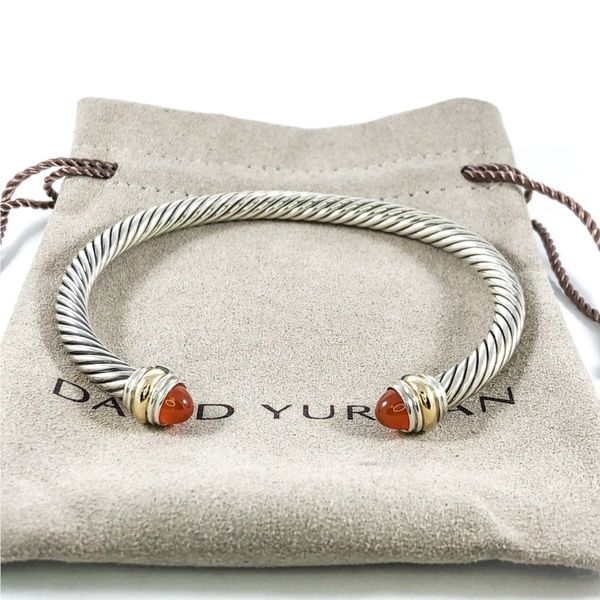 David Yurman Cable Bracelet with Carnelian Agate, 5mm Image 2 Lumina Gem Wilmington, NC
