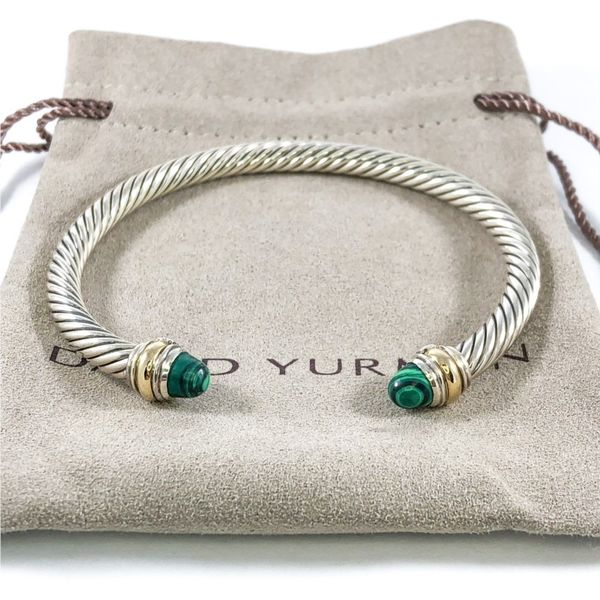 David Yurman Cable Bracelet with Malachite, 5mm Image 2 Lumina Gem Wilmington, NC