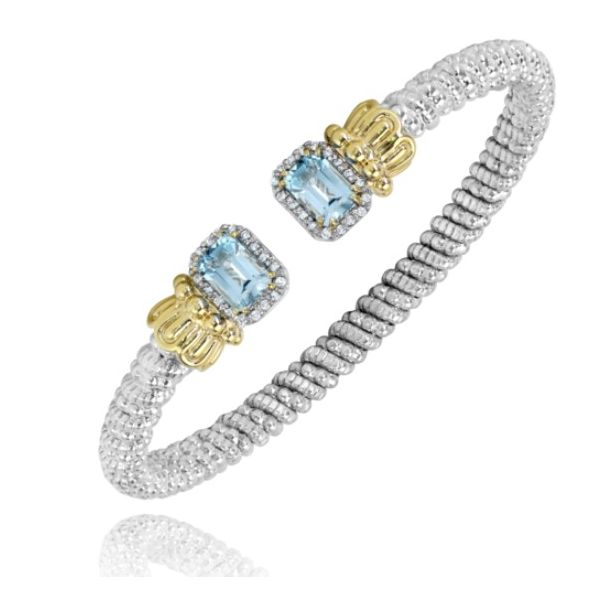 Alwand Vahan Blue Topaz and .18ctw Diamond Cuff in Sterling Silver and Yellow Gold Lumina Gem Wilmington, NC