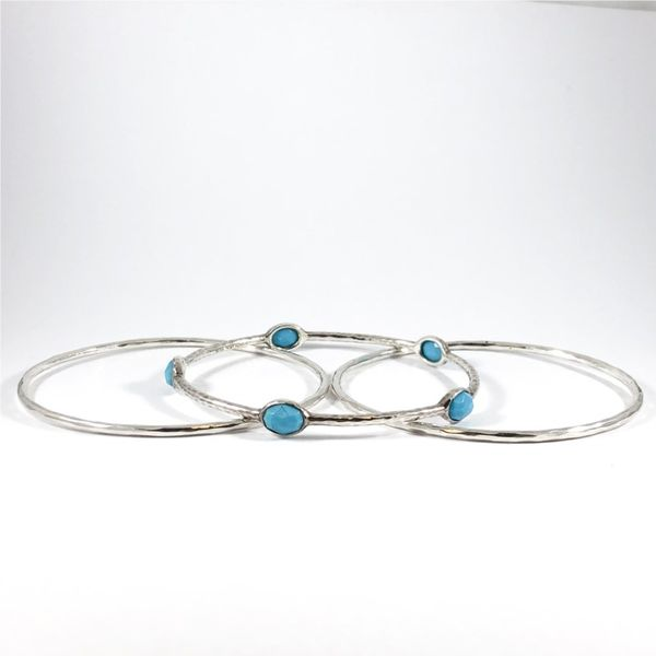 Ippolita Turquoise, Quartz, and Hammered Sterling Silver Bangles - Set of 3 Image 2 Lumina Gem Wilmington, NC