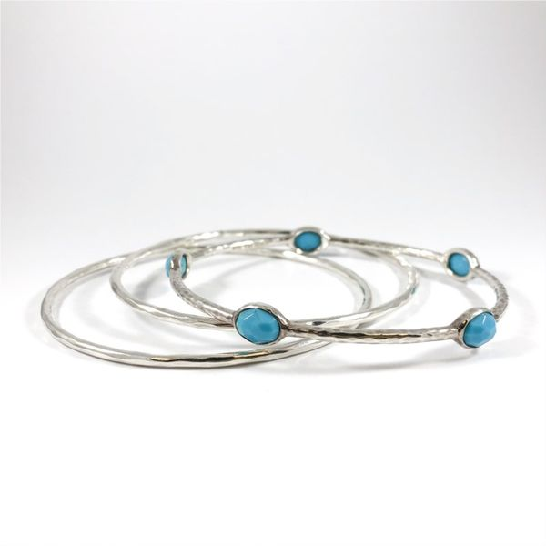 Ippolita Turquoise, Quartz, and Hammered Sterling Silver Bangles - Set of 3 Lumina Gem Wilmington, NC