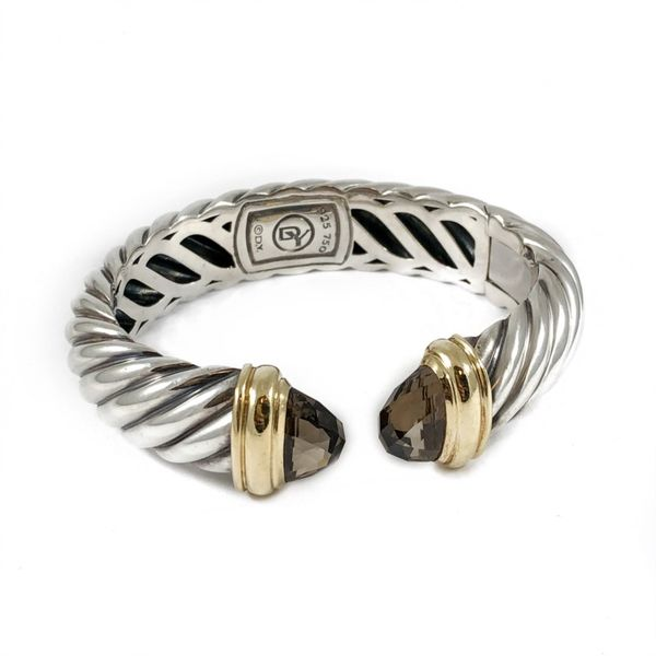 David Yurman Waverly Hinged Cuff with Smoky Quartz End Caps Image 2 Lumina Gem Wilmington, NC