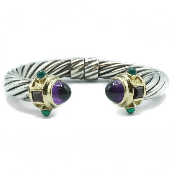 David Yurman Amethyst, Green Chalcedony, and Pink Tourmaline Hinged Two Tone Cuff Lumina Gem Wilmington, NC