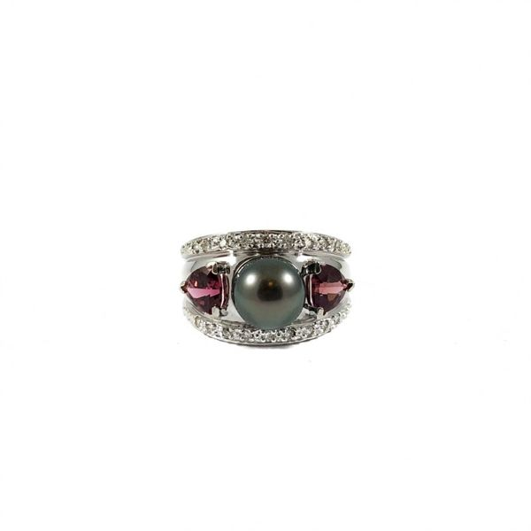 Tahitian Pearl and Pink Stone Ring with Diamond Accents - White Gold Lumina Gem Wilmington, NC