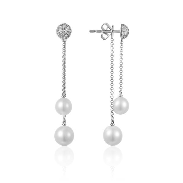 Luvente Pearl and Diamond Earrings- 14k White Gold Lumina Gem Wilmington, NC