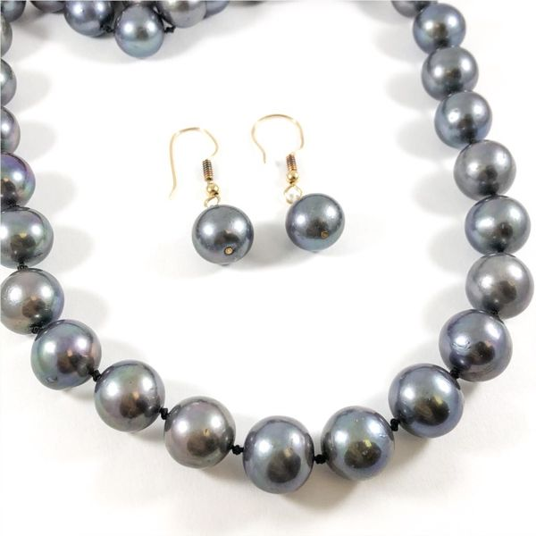 11mm Tahitian Pearl Strand with Matching Dangle Earrings Image 2 Lumina Gem Wilmington, NC