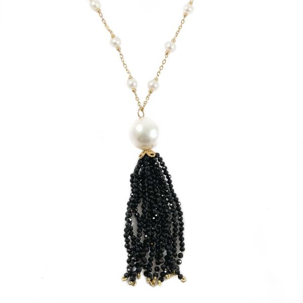 Spinel Tassel Necklace with Freshwater Pearl Stations - Yellow Gold - 24