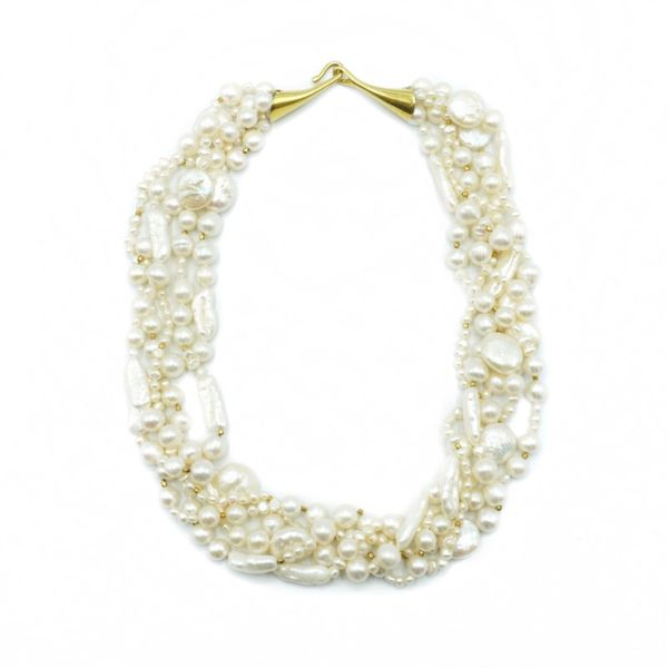 Multi Strand Pearl Necklace - Yellow Gold - 19