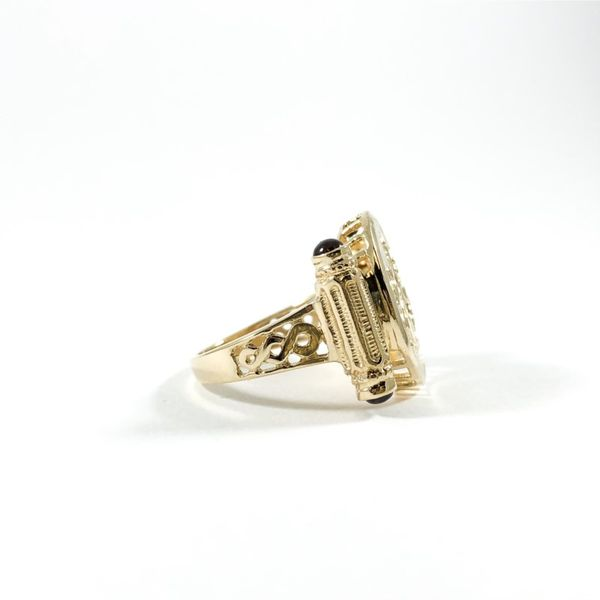 Yellow Gold Carved Ring with Garnet Accents Image 2 Lumina Gem Wilmington, NC
