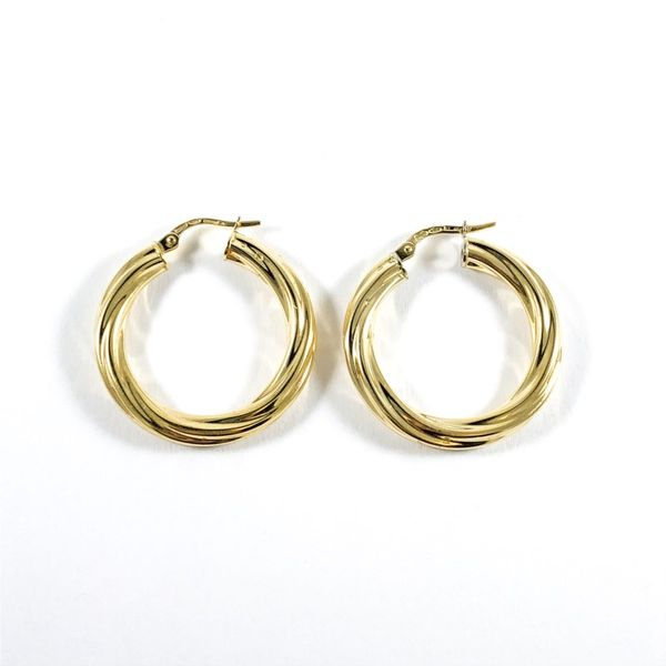 18k Yellow Gold Twisted Hoops Image 2 Lumina Gem Wilmington, NC