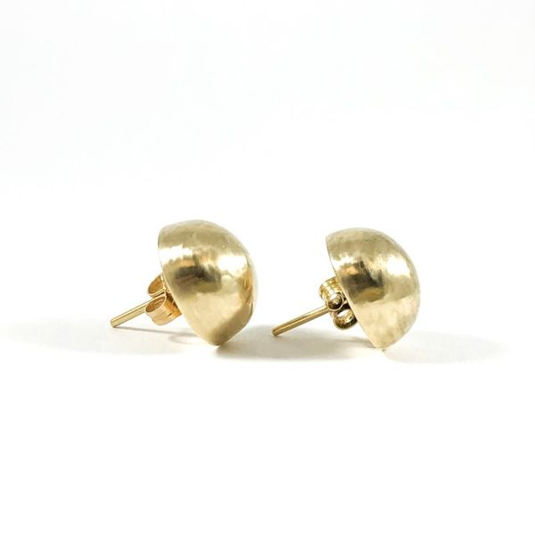 2.9g Yellow Gold Dome Earrings Image 2 Lumina Gem Wilmington, NC