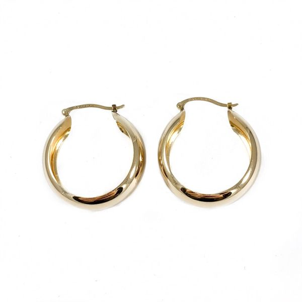 Yellow Gold Domed Hoops Image 3 Lumina Gem Wilmington, NC