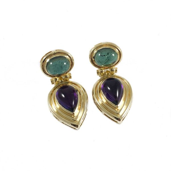 Green Tourmaline and Amethyst Earrings - Yellow Gold Lumina Gem Wilmington, NC