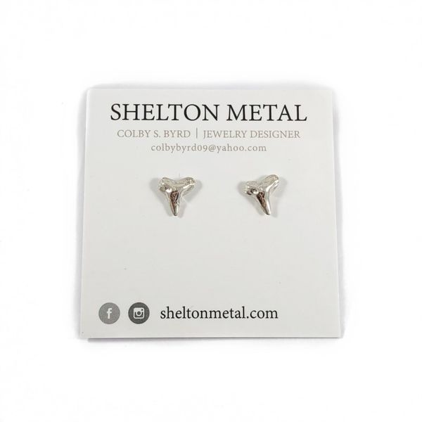 Shelton Metal Tiny Sterling Silver Shark Tooth Stud Earrings Lumina Gem Wilmington, NC
