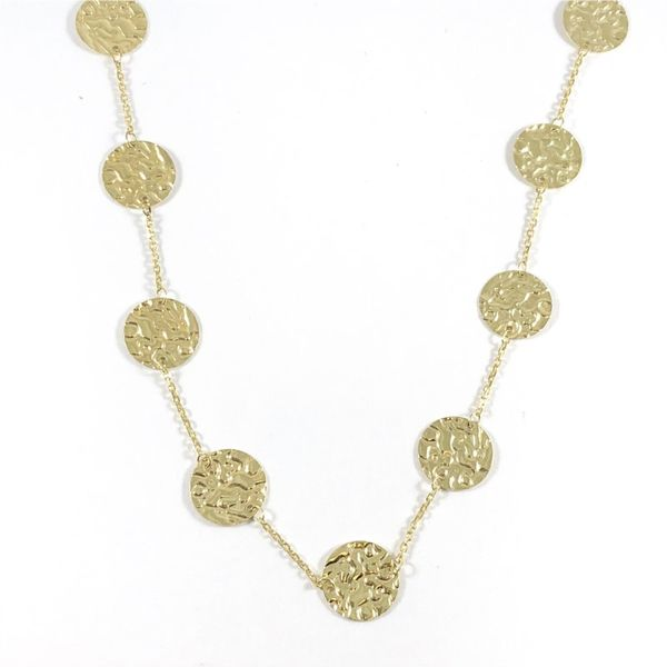 Textured Gold Disk Station Necklace - 38